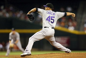 PHOENIX, AZ - OCTOBER 02:  Relief pitcher Jhoulys Chacin #45 of the Colorado Rockies pitches against the Arizona Diamondbacks during the MLB game at Chase Field on October 2, 2012 in Phoenix, Arizona.  (Photo by Christian Petersen/Getty Images)
