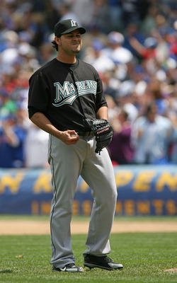 CHICAGO - MAY 02: Starting pitcher Anibal Sanchez #19 of the Florida Marlins reacts after giving up a home run ball to Derrek Lee of the Chicago Cubs on May 2, 2009 at Wrigley Field in Chicago, Illinois. The Cubs defeated the Marlins 6-1. (Photo by Jonath