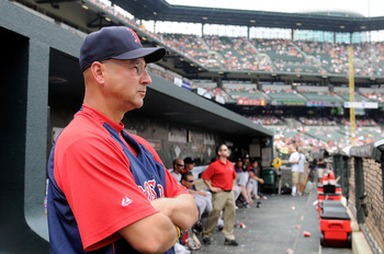 BALTIMORE - MAY 02:  Manager Terry Francona of the Boston Red Sox watches the game  against the Baltimore Orioles at Camden Yards on May 2, 2010 in Baltimore, Maryland.  (Photo by Greg Fiume/Getty Images)
