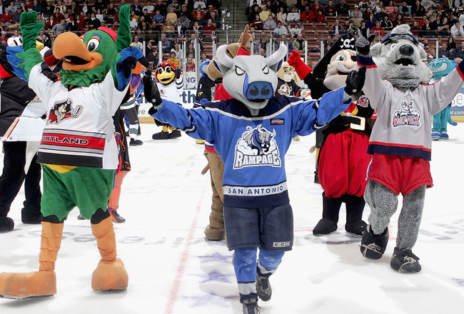 MANCHESTER - FEBRUARY 14: Mascots from around the AHL entertain the fans between periods at the Dodge AHL All Star Classic on February 14, 2005 at Verizon Wireless Arena in Manchester, New Hampshire.  (Photo by Jim McIsaac/Getty Images)