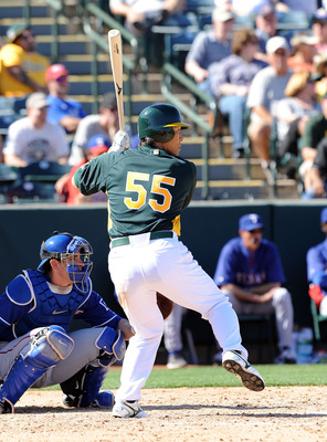 PHOENIX, AZ - MARCH 04:  Hideki Matsui #55 of the Oakland Athletics gets ready in the batters box against the Texas Rangers at Phoenix Municipal Stadium on March 4, 2011 in Phoenix, Arizona.  (Photo by Norm Hall/Getty Images)