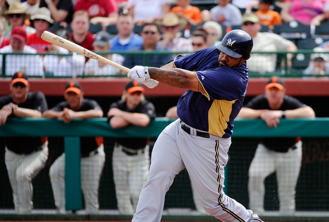 SCOTTSDALE, AZ - MARCH 14:  Prince Fielder#28 of the Milwaukee Brewers swings the bat against the San Francisco Giants during the spring training baseball game at Scottsdale Stadium on March 14, 2011 in Scottsdale, Arizona.  (Photo by Kevork Djansezian/Ge
