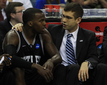 NEW ORLEANS, LA - MARCH 26:  Shelvin Mack #1 of the Butler Bulldogs talks to head coach Brad Stevens during their 74 to 71 win over the Florida Gators during the Southeast regional final of the 2011 NCAA men's basketball tournament at New Orleans Arena on