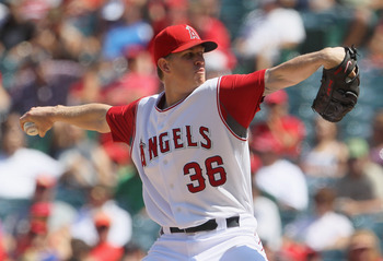 ANAHEIM, CA - AUGUST 11:  Jered Weaver #36 of the Los Angeles Angels of Anaheim pitches against the Kansas City Royals in the seventh inning at Angel Stadium on August 11, 2010 in Anaheim, California.  The Angels defeated the Royals 2-1 in ten innings.(Ph