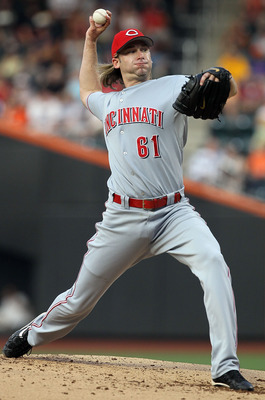 NEW YORK - JULY 07:  Bronson Arroyo #61 of the Cincinnati Reds delivers a pitch against the New York Mets on July 7, 2010 at Citi Field in the Flushing neighborhood of the Queens borough of New York City.  (Photo by Jim McIsaac/Getty Images)