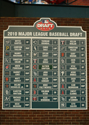 SECAUCUS, NJ - JUNE 07:  The draft board seen after the MLB First Year Player Draft on June 7, 2010 held in Studio 42 at the MLB Network in Secaucus, New Jersey.  (Photo by Mike Stobe/Getty Images)