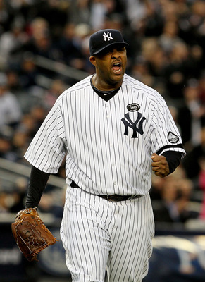NEW YORK - OCTOBER 20:  CC Sabathia #52 of the New York Yankees celebrates after he forced Josh Hamilton #32 of the Texas Rangers to ground into a double play to end the top of the fifth inning of Game Five of the ALCS during the 2010 MLB Playoffs at Yank