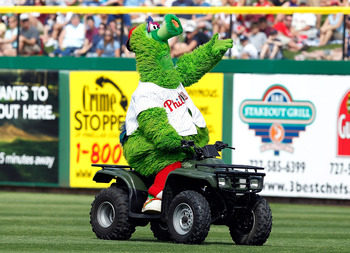 CLEARWATER, FL - MARCH 06:  The mascot of the Philadelphia Phillies, the Philly Phanatic, cheers on the crowd during a Grapefruit League Spring Training Game against the Tampa Bay Rays at Bright House Field on March 6, 2011 in Sarasota, Florida.  (Photo b