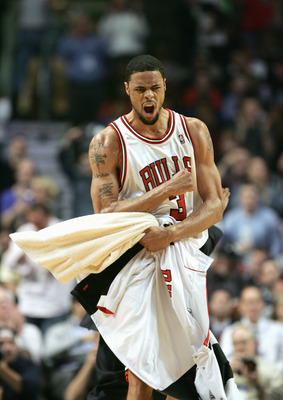 CHICAGO - APRIL 27:  Tyson Chandler #3 of the Chicago Bulls celebrates in game three of the Eastern Conference Quarterfinals against the Miami Heat during the 2006 NBA Playoffs on April 27, 2006 at the United Center in Chicago, Illinois. The Bulls defeate