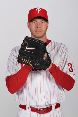 CLEARWATER, FL - FEBRUARY 22: Roy Halladay #34 of the Philadelphia Phillies poses for a photo during Spring Training Media Photo Day at Bright House Networks Field on February 22, 2011 in Clearwater, Florida.  (Photo by Nick Laham/Getty Images)