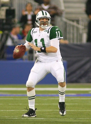 TORONTO - DECEMBER 3:  Kellen Clemens #11 of the New York Jets looks to pass against the Buffalo Bills at Rogers Centre on December 3, 2009 in Toronto, Canada.  (Photo by Rick Stewart/Getty Images)