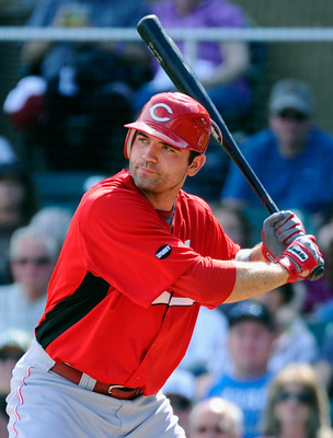 SCOTTSDALE, AZ - MARCH 14:  Joey Votto #19 of the Cincinnati Reds against the Colorodo Rockies during the spring training baseball game at Salt River Fields at Talking Stick on March 14, 2011 in Scottsdale, Arizona.  (Photo by Kevork Djansezian/Getty Imag