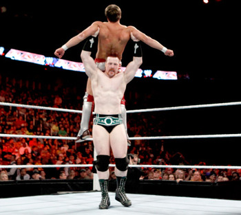 Sheamus looks to hit the High Cross on a dazed Daniel Bryan.