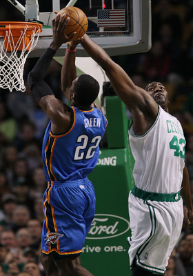 BOSTON - MARCH 31:  Kendrick Perkins #43 of the Boston Celtics blocks a shot by Jeff Green #22 of the Oklahoma City Thunder on March 31, 2010 at the TD Garden in Boston, Massachusetts.  NOTE TO USER: User expressly acknowledges and agrees that, by downloa
