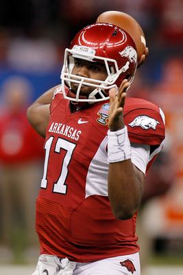 NEW ORLEANS, LA - JANUARY 04:  Brandon Mitchell #17 of the Arkansas Razorbacks warms up before taking on the Ohio State Buckeyes during the Allstate Sugar Bowl at the Louisiana Superdome on January 4, 2011 in New Orleans, Louisiana.  (Photo by Kevin C. Co
