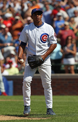 CHICAGO - JULY 16: Carlos Marmol #49 of the Chicago Cubs waits to pitch in the 9th inning against the Philadelphia Phillies at Wrigley Field on July 16, 2010 in Chicago, Illinois. The Cubs defeated the Phillies 4-3. (Photo by Jonathan Daniel/Getty Images)
