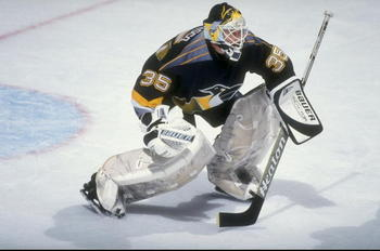 14 Oct 1998:  Goaltender Tom Barrasso #35 of the Pittsburgh Penguins in action during the game against the New Jersey Devils at the Continental Airlines Arena in East Rutherford, New Jersey. The Penguins defeated the Devils 3-1. Mandatory Credit: Al Bello