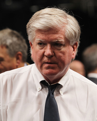 LOS ANGELES, CA - JUNE 25: Brian Burke of the Toronto Maple Leafs works the draft floor during the 2010 NHL Entry Draft at Staples Center on June 25, 2010 in Los Angeles, California.  (Photo by Bruce Bennett/Getty Images)