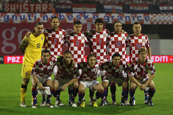 ZAGREB, CROATIA - SEPTEMBER 07:  Croatia team line up during the EURO 2012 Qualifying Group F match between Croatia and Greece at the Stadion Maksimir on September 7, 2010 in Zagreb, Croatia.  (Photo by Michael Steele/Getty Images)