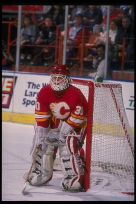 1989-1990:  Goaltender Mike Vernon of the Calgary Flames. Mandatory Credit: Ken Levine  /Allsport