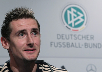 PRETORIA, SOUTH AFRICA - JULY 04:  Miroslav Klose of Germany speaks to the media in the media center at the Velmore Grand Hotel on July 4, 2010 in Pretoria, South Africa.  (Photo by Joern Pollex/Getty Images)