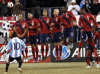 EAST RUTHERFORD, NJ - MARCH 26:  The United States lines up to defend a free kick by Lionel Messi #10 of Argentina during the second half of a friendly match at New Meadowlands Stadium on March 26, 2011 in East Rutherford, New Jersey.  (Photo by Jeff Zele