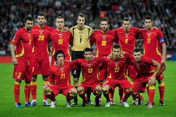 LONDON, ENGLAND - OCTOBER 12:  The Montenegro team line up during the UEFA EURO 2012 Group G Qualifying match between England and Montenegro at Wembley Stadium on October 12, 2010 in London, England.  (Photo by Shaun Botterill/Getty Images)