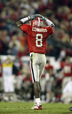 JACKSONVILLE, FL - NOVEMBER 2:  Terrence Edwards #8 of the University of Georgia reacts after dropping a pass late in the game during the game against the Universiy of Florida at Alltel Stadium on November 2, 2002 in Jacksonville, Florida.  Florida won 20
