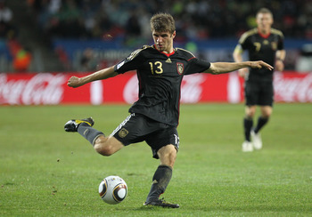 PORT ELIZABETH, SOUTH AFRICA - JULY 10:  Thomas Mueller of Germany in action during the 2010 FIFA World Cup South Africa Third Place Play-off match between Uruguay and Germany at The Nelson Mandela Bay Stadium on July 10, 2010 in Port Elizabeth, South Afr