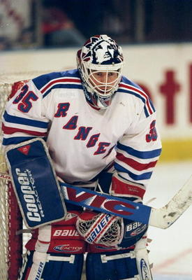 2 Mar 1998:  Goalie Mike Richter #35 of the New York Rangers looks down the ice during a game against the Buffalo Sabres at Madison Square Garden in New York City, New York. The Sabres defeated the Rangers 1-0. Mandatory Credit: Ezra C. Shaw  /Allsport