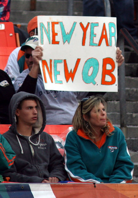 MIAMI - DECEMBER 26: Fans calling for the removal of Quarterback Chad Henne #7 as the Miami Dolphins play against the Detroit Lions at Sun Life Stadium on December 26, 2010 in Miami, Florida. The Lions defeated the Dolphins 34-27. (Photo by Marc Serota/Ge
