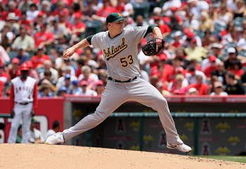 ANAHEIM, CA - MAY 16:  Trevor Cahill #53 of the Oakland Athletics pitches against the Los Angeles Angels of Anaheim at Angel Stadium on May 16, 2010 in Anaheim, California. The Angels defeated the Athletics 4-0.  (Photo by Jeff Gross/Getty Images)