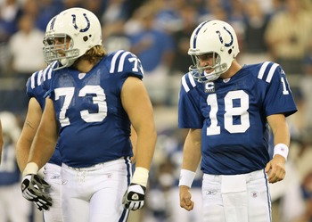 INDIANAPOLIS - SEPTEMBER 06:  Quarterback Peyton Manning #18 of the Indianapolis Colts walks to the line of scrimmage behind Jake Scott #73 during their game against the New Orleans Saints in the first NFL game of the season at the RCA Dome on September 6