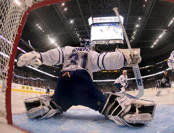 TAMPA, FL - FEBRUARY 12: Curtis Joseph #31 of the Toronto Maple Leafs tends net against the Tampa Bay Lightning on February 12, 2009 at the St. Pete Times Forum in Tampa, Florida. (Photo by Bruce Bennett/Getty Images)