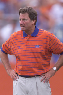 1 Sep 2001: Steve Spurrier head coach of the Florida Gators looks on  during warm up before the game against the Marshall Herd at Florida Field in Gainesville, Florida. Florida won 49-14. DIGITAL IMAGE. Mandatory Credit: Eliot Schechter/Allsport