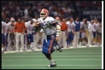 2 Jan 1997: Quarterback Danny Wuerffel of the Floirda Gators moves the ball during the Nokia Sugar Bowl against the Florida State Seminoles at the Superdome in New Orleans, Louisiana. Florida won the game, 52-20.