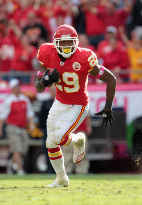 KANSAS CITY, MO - OCTOBER 24:  Safety Eric Berry #29 of the Kansas City Chiefs carries the ball after making an interception during the game against the Jacksonville Jaguars on October 24, 2010 at Arrowhead Stadium in Kansas City, Missouri.  (Photo by Jam