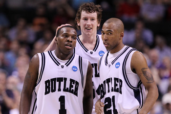 SAN JOSE, CA - MARCH 18:  Shelvin Mack #1, Matt Howard #54 and Willie Veasley #21 of the Butler Bulldogs react after a three point basket by Mack against the UTEP Miners during the first round of the 2010 NCAA men's basketball tournament at HP Pavilion on