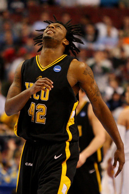 PHILADELPHIA - MARCH 19:  T.J. Gwynn #42 of the VCU Rams reacts during the game against the UCLA Bruins during the first round of the NCAA Division I Men's Basketball Tournament at the Wachovia Center on March 19, 2009 in Philadelphia, Pennsylvania.  (Pho
