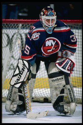 6 Feb 1996:  Goaltender Tommy Salo of the New York Islanders looks on during a game against the New Jersey Devils at the Continental Airlines Arena in East Rutherford, New Jersey.  The Devils won the game, 4-1. Mandatory Credit: Al Bello  /Allsport