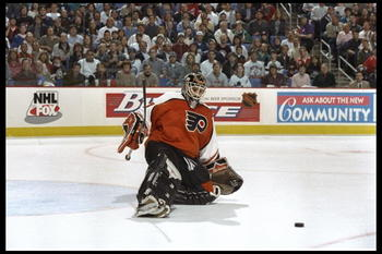 11 May 1997: Goal tender Ron Hextall of the Philadelphia Flyers attempts to block a shot during the Flyers 6-3 Eastern Conference Playoff win over the Buffalo Sabres at Marine Midland Arena in Buffalo, New York.