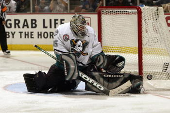 ANAHEIM, CA - JUNE 7:  Goalie Jean-Sebastien Giguere #35 of the Anaheim Mighty Ducks makes a save against the New Jersey Devils during the third period in Game Six of the 2003 Stanley Cup Finals at the Arrowhead Pond of Anaheim on June 7, 2003 in Anaheim,