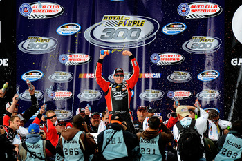 FONTANA, CA - MARCH 26:  Kyle Busch, driver of the #18 Z-Line Designs Toyota, celebrates in victory lane after winning the NASCAR Nationwide Series Royal Purple 300 at Auto Club Speedway on March 26, 2011 in Fontana, California.  (Photo by Jared C. Tilton