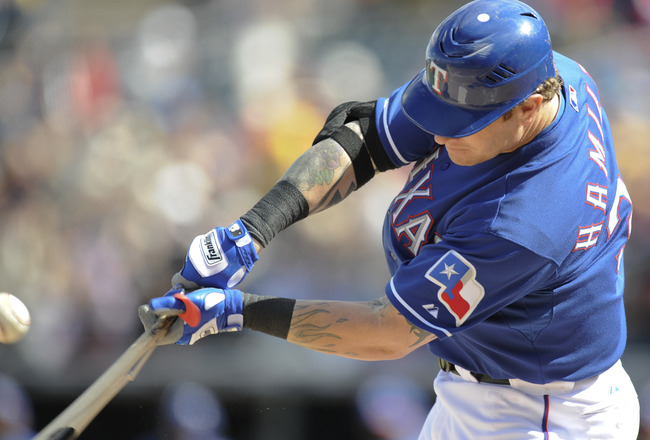 SURPISE, AZ - FEBRUARY 27: Josh Hamilton #32 of the Texas Rangers bats during a spring training game against the Kansas City Royals at Surprise Stadium on February 27, 2011 in Surprise, Arizona. (Photo by Rob Tringali/Getty Images)