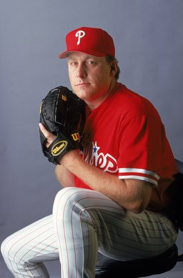 28 Feb 2000:  Pitcher Curt Schilling #38 of the Philadelphia Phillies poses for a studio portrait during Spring Training Photo Day in Clearwater, Florida. Mandatory Credit: Rick Stewart  /Allsport