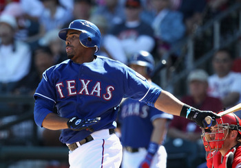 SURPRISE, AZ - MARCH 02:  Nelson Cruz #17 of the Texas Rangers bats against the Los Angeles Angels of Anaheim during the spring training game at Surprise Stadium on March 2, 2011 in Surprise, Arizona.  (Photo by Christian Petersen/Getty Images)