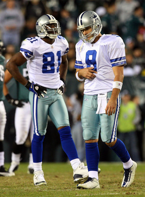 PHILADELPHIA - DECEMBER 28: Tony Romo #9 and Terrell Owens #81 of the Dallas Cowboys look on in the fourth quarter against the Philadelphia Eagles on December 28, 2008 at Lincoln Financial Field in Philadelphia, Pennsylvania. The Eagles defeated the Cowbo