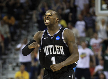 NEW ORLEANS, LA - MARCH 26:  Shelvin Mack #1 of the Butler Bulldogs reacts during their game against the Florida Gators in overtime of the Southeast regional final of the 2011 NCAA men's basketball tournament at New Orleans Arena on March 26, 2011 in New