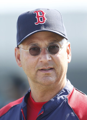 JUPITER, FL - MARCH 24: Manager Terry Francona #47 of the Boston Red Sox watches the team take batting practice prior to the game against the Florida Marlins at Roger Dean Stadium on March 24, 2011 in Jupiter, Florida. The Marlins defeated the Red Sox 15-