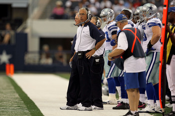 ARLINGTON, TX - OCTOBER 31:  Defensive line coach Paul Pasqualoni of the Dallas Cowboys looks on against the Jacksonville Jaguars at Cowboys Stadium on October 31, 2010 in Arlington, Texas.  (Photo by Stephen Dunn/Getty Images)
